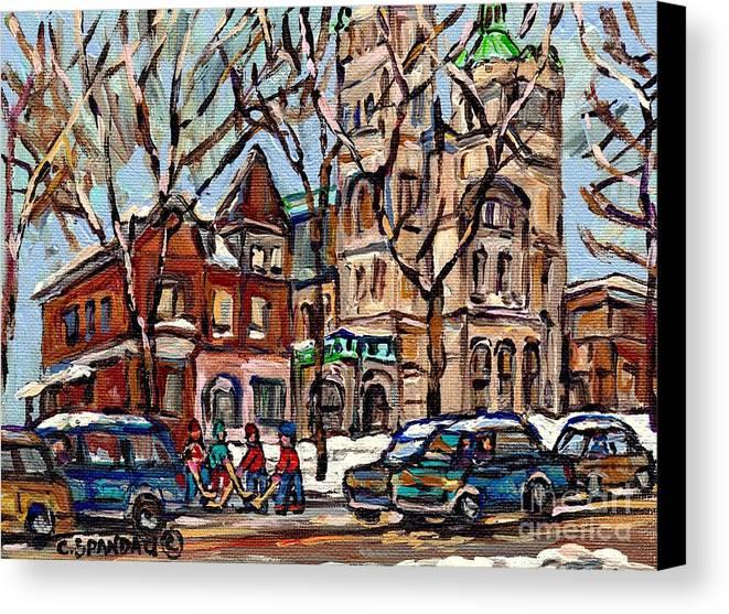 St.gabriel's Rectory Canvas Print featuring the painting St Gabriel's Rectory St Charles Church Rue Centre Pointe St Charles Original Oil Painting Cspandau by Carole Spandau