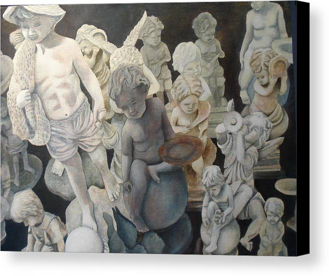 Stone Canvas Print featuring the painting Stone Angels by Victoria Heryet