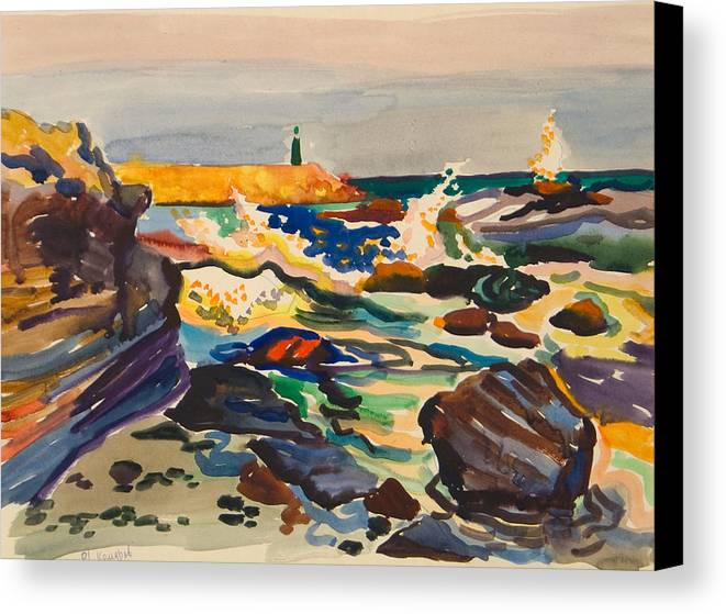 Lighthouse Canvas Print featuring the painting Stone Sea Cost With Lighthouse by Vitali Komarov