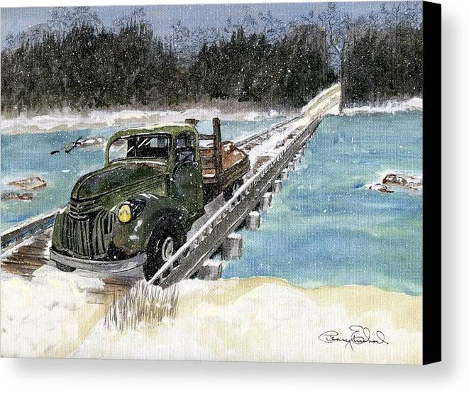 Landscape Canvas Print featuring the painting Stranded On Rockford Bridge by Penny Everhart