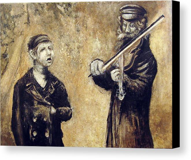 Figurative Canvas Print featuring the painting Street Artists After A Photograph Shown On Pbs by Vladimir Kezerashvili