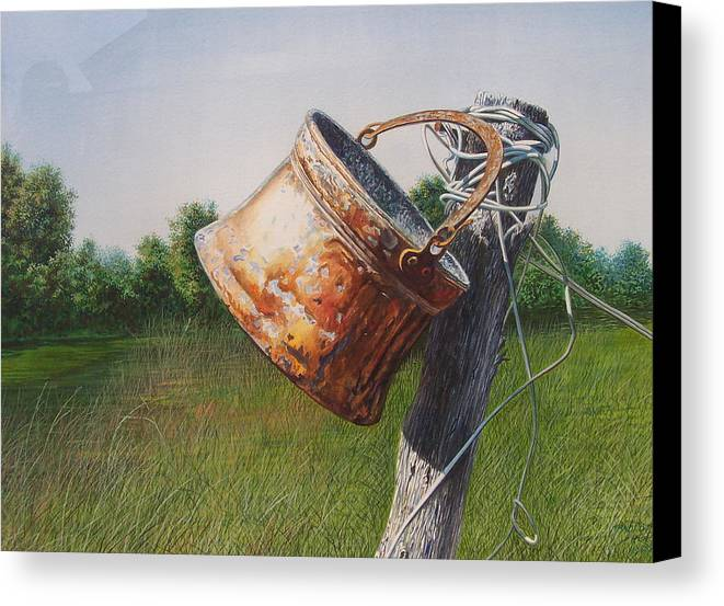 Landscape Canvas Print featuring the painting Sunlit Copper by Arnold Hurley