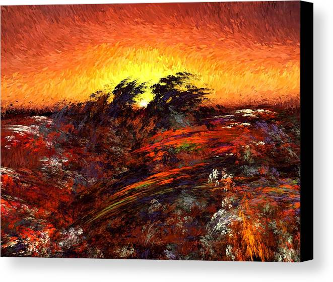 Abstract Digital Painting Canvas Print featuring the digital art Sunset In Paradise by David Lane