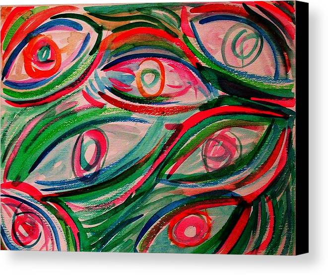 Digital Canvas Print featuring the painting Swimming Eyes 2 by Margie Byrne