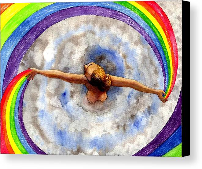Rainbow Canvas Print featuring the painting Swirl by Catherine G McElroy