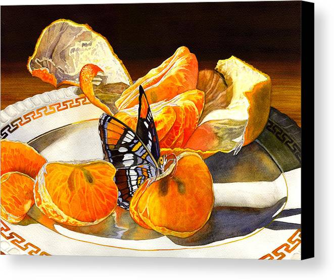 Butterfly Canvas Print featuring the painting Tasty by Catherine G McElroy
