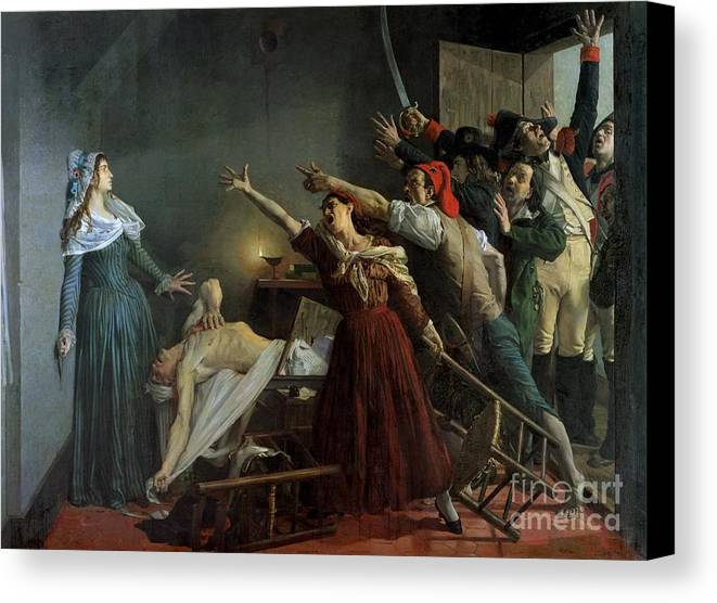 The Canvas Print featuring the painting The Assassination Of Marat by Jean Joseph Weerts