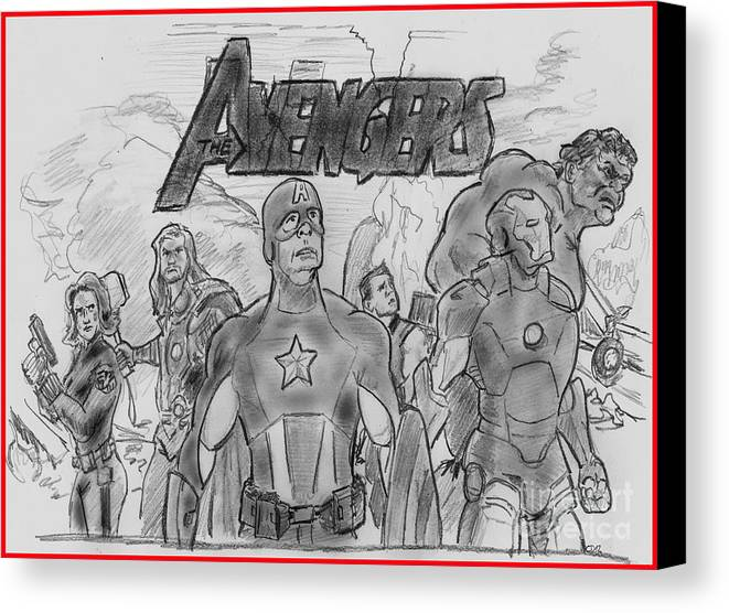 Avengers Canvas Print featuring the drawing The Avengers by Chris DelVecchio