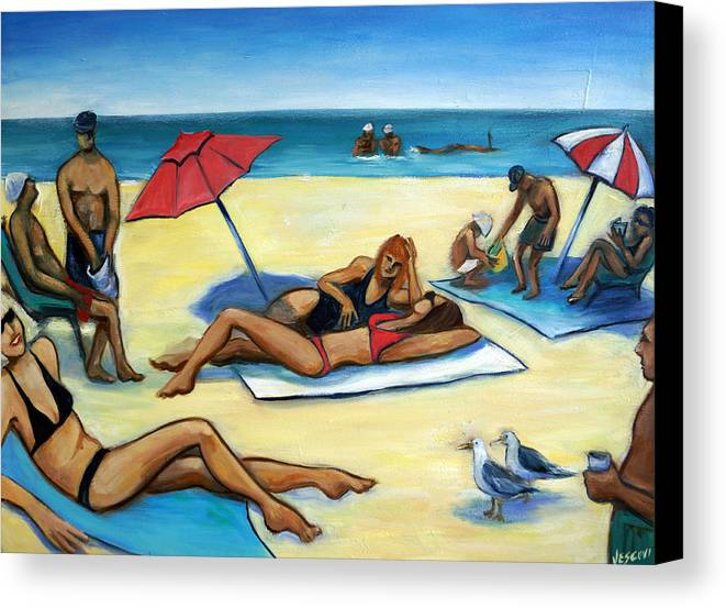 Beach Scene Canvas Print featuring the painting The Beach by Valerie Vescovi