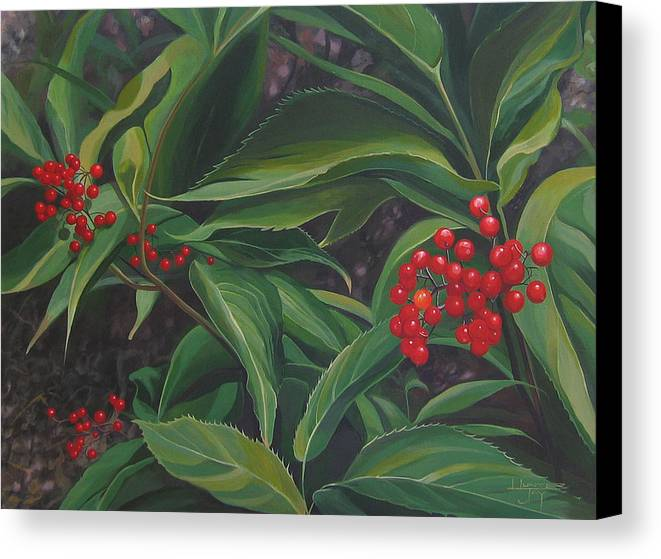 Berries Canvas Print featuring the painting The Berries On Guanella Pass by Hunter Jay
