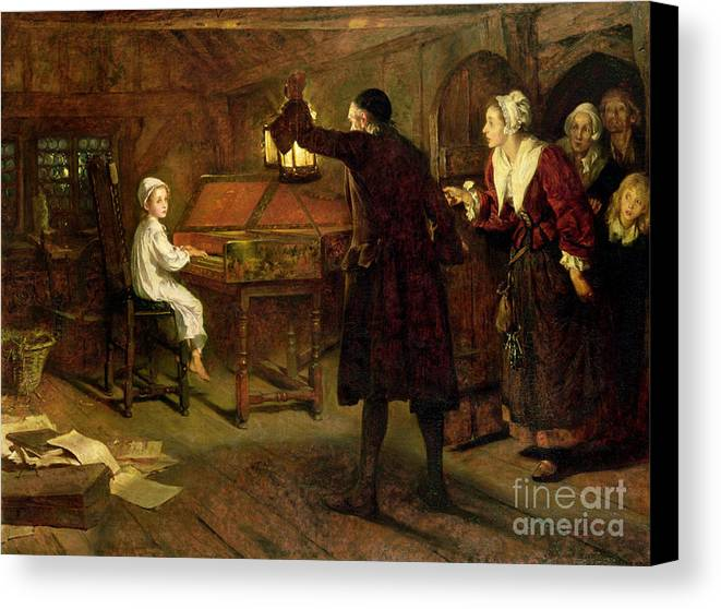 The Child Handel Canvas Print featuring the painting The Child Handel Discovered By His Parents by Margaret Isabel Dicksee