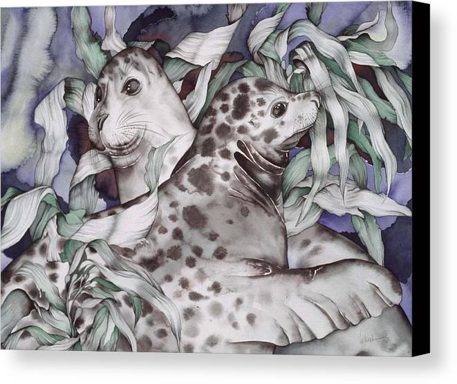 Sealife Canvas Print featuring the painting The Couple by Liduine Bekman