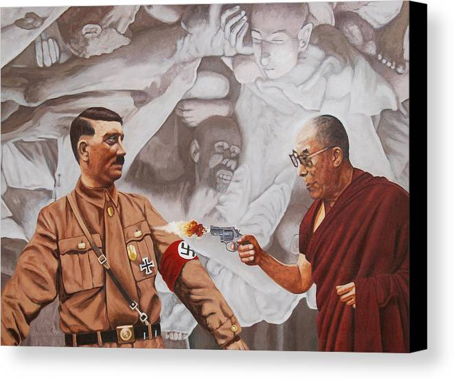 Dalai Lama Canvas Print featuring the painting The Dalai Lama Shoots Adolph Hitler by Allan OMarra