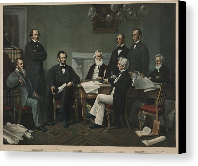 History Canvas Print featuring the photograph The First Reading Of The Emancipation by Everett