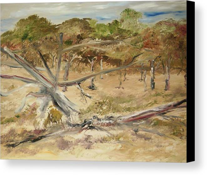Landscape Canvas Print featuring the painting The Fourty-niner Highwaytrees by Edward Wolverton