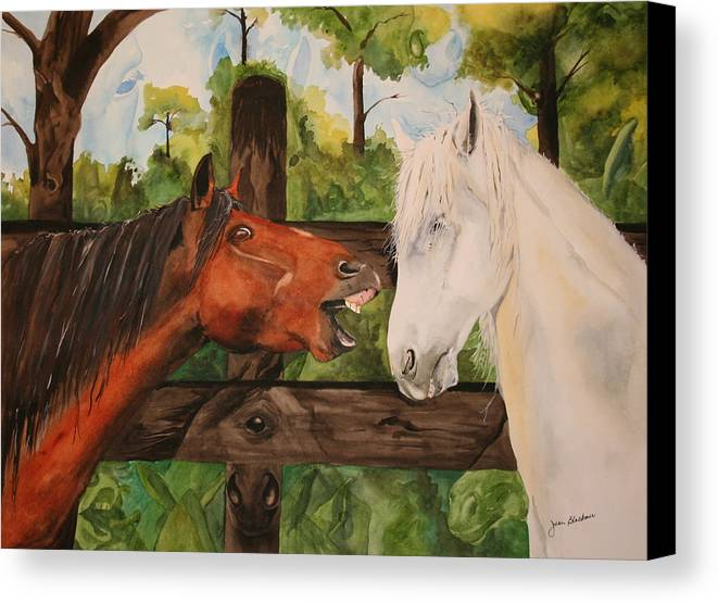 Horse Canvas Print featuring the painting The Horse Whisperers by Jean Blackmer