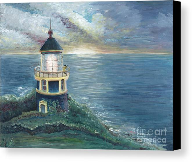 Lighthouse Canvas Print featuring the painting The Lighthouse by Nadine Rippelmeyer