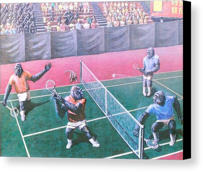 Tennis Canvas Print featuring the painting The Match by George I Perez