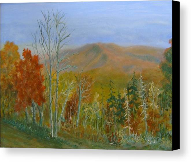 Mountains; Trees; Fall Colors Canvas Print featuring the painting The Parkway View by Ben Kiger