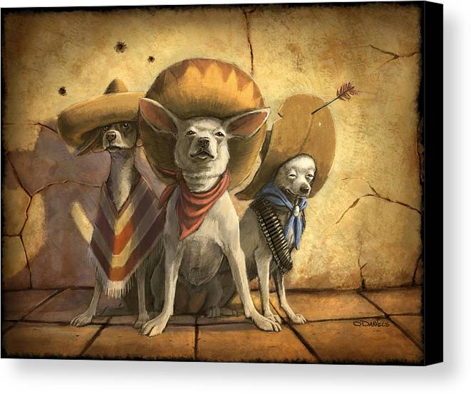 Dogs Canvas Print featuring the painting The Three Banditos by Sean ODaniels
