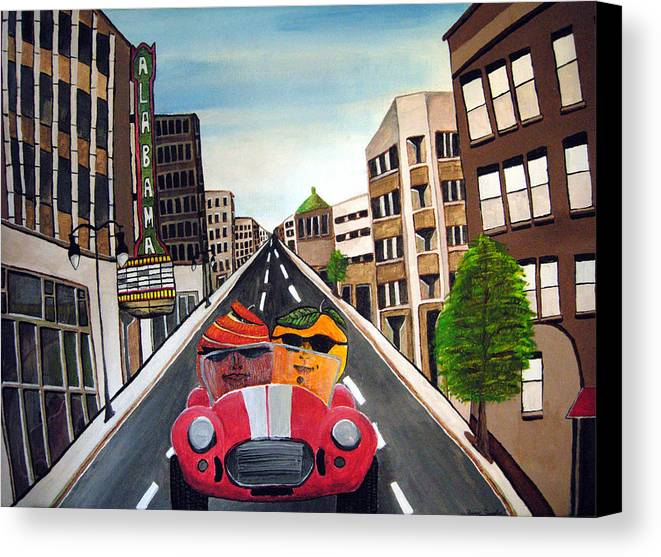 Birmingham Canvas Print featuring the painting The Truth About Apples And Oranges by Sharon Supplee