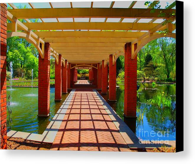 Restful Canvas Print featuring the photograph The Walkway by Judy Waller