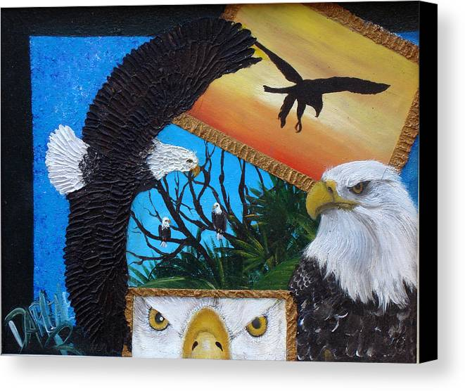 Eagle Canvas Print featuring the painting Those Eyes  Eagle by Darlene Green