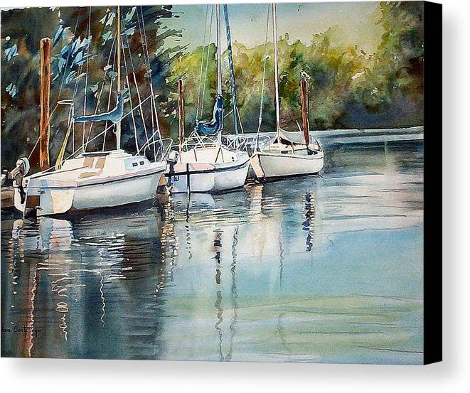 Sailboats Canvas Print featuring the painting Three White Sails Docked by June Conte Pryor