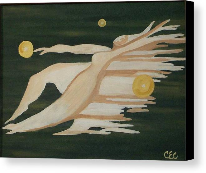 Flying Canvas Print featuring the painting Trinity  A Womans Journey by Carolyn Cable