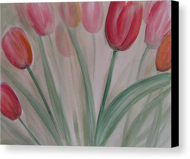 Tulips Canvas Print featuring the painting Tulip Series 5 by Anita Burgermeister