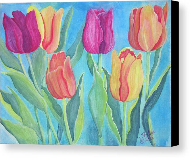 Floral Canvas Print featuring the painting Tulips by SheRok Williams