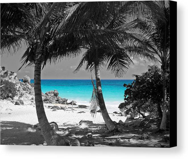 Travelpixpro canvas print featuring the digital art tulum mexico beach color splash black and white by
