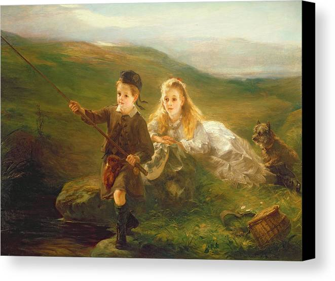 Two Canvas Print featuring the painting Two Children Fishing In Scotland  by Otto Leyde