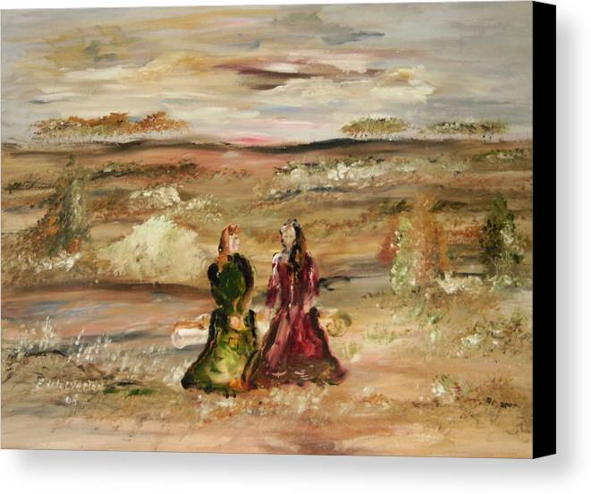 Landscape Canvas Print featuring the painting Two Ladies In Waiting by Edward Wolverton