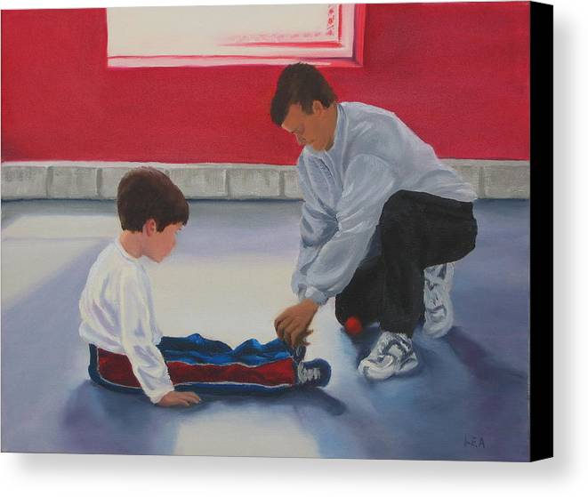 Child Canvas Print featuring the painting Tying Shoes by Lea Novak