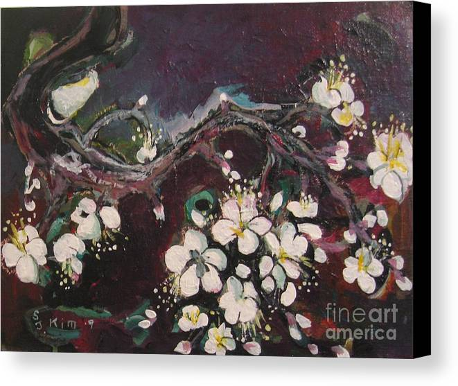Ume Blossoms Paintings Canvas Print featuring the painting Ume Blossoms by Seon-Jeong Kim