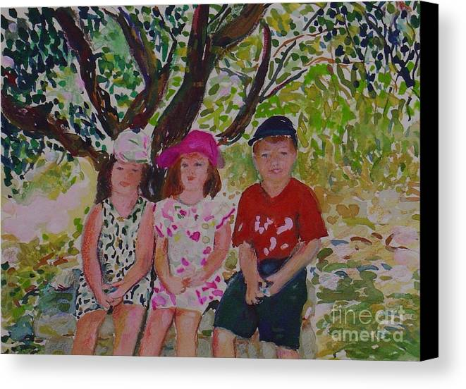 Portrait Children Original Illustration Leilaatkinson Canvas Print featuring the painting Under The Shade Of A Tree by Leila Atkinson