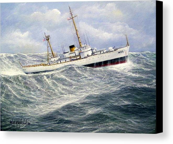 United States Coast Guard Cutter Ingham In Heavy Seas Canvas Print featuring the painting United Statescoast Guard Cutter Ingham by William H RaVell III