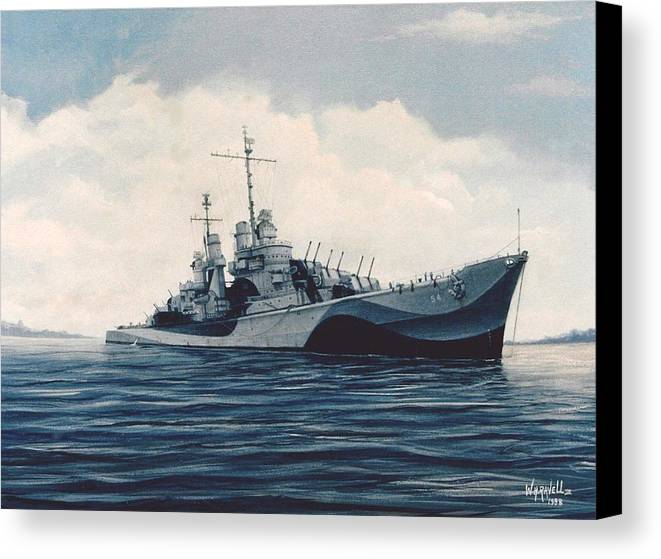 U. S. Navy Canvas Print featuring the painting Uss Cruiser San Juan by William H RaVell III