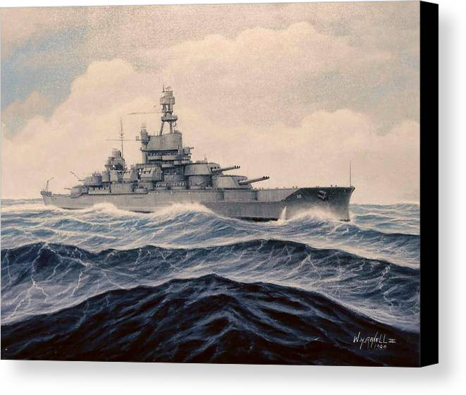 Marine Art Canvas Print featuring the painting Uss Pensylvania by William H RaVell III