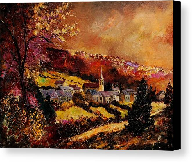 River Canvas Print featuring the painting Vencimont Village Ardennes by Pol Ledent