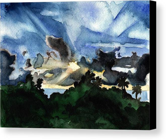 Watercolor Canvas Print featuring the painting Veradero Sunset by Anastasia Bisel