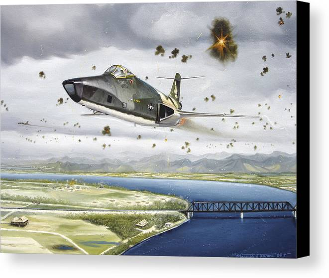 Military Canvas Print featuring the painting Voodoo Vs The Dragon by Marc Stewart