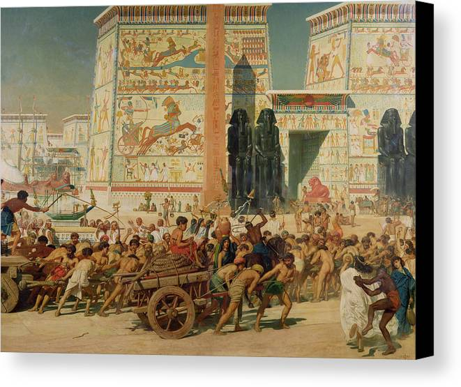 Temple Canvas Print featuring the painting Wagons Detail From Israel In Egypt by Sir Edward John Poynter