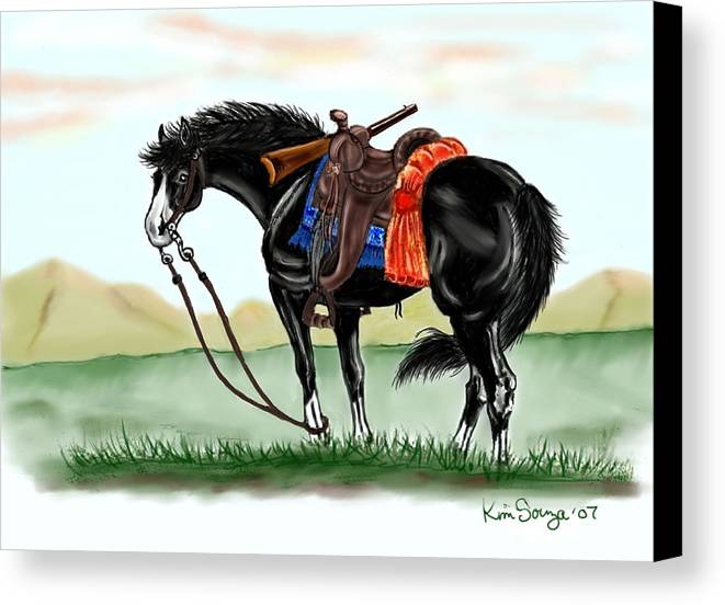 Horses Canvas Print featuring the digital art Waiting On The Boss by Kim Souza