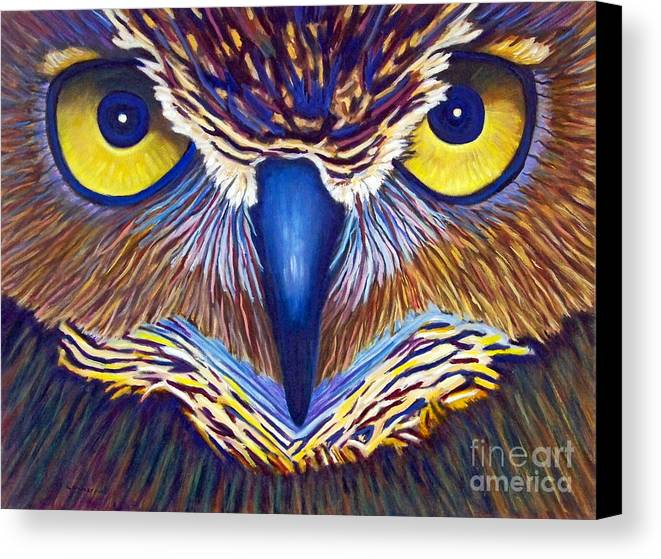 Owl Canvas Print featuring the painting Watching by Brian Commerford