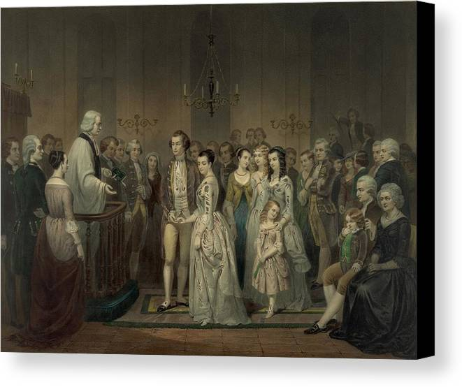 History Canvas Print featuring the photograph Wedding Of George Washington And Martha by Everett