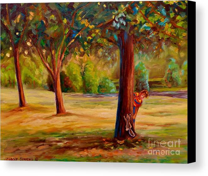 Montreal Canvas Print featuring the painting Westmount Park Montreal by Carole Spandau