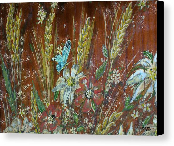 Flowers Canvas Print featuring the painting Wheat 'n' Wildflowers I by Phyllis Mae Richardson Fisher
