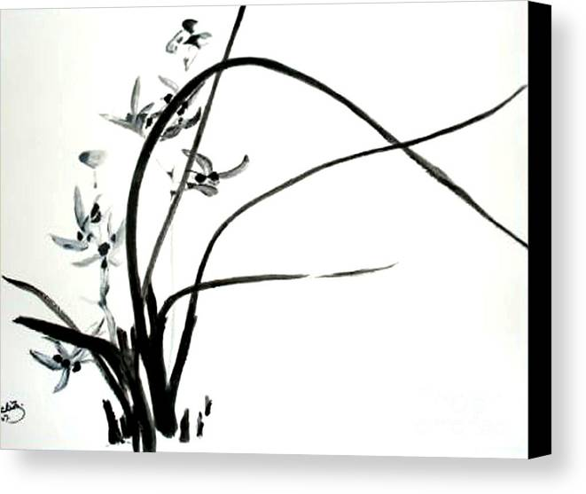 Sumi-e Canvas Print featuring the painting Wild Orchid by Sibby S